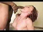 White woman sucking hung black cock and taking cum on face